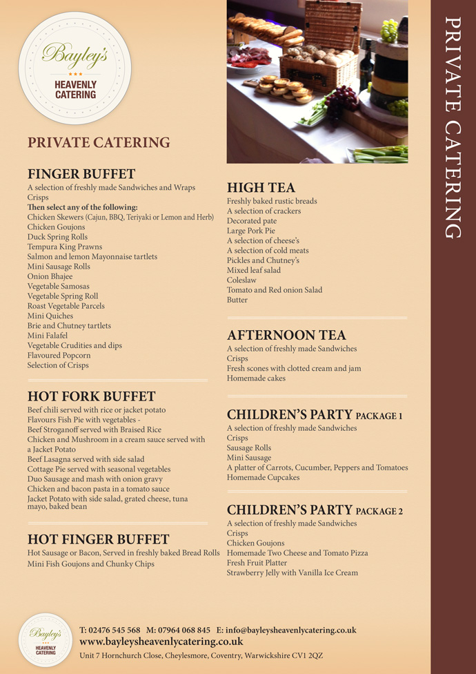 Private Catering - Bayleys Heavenly Catering